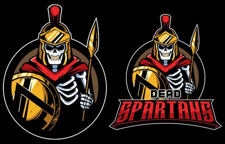 Cartoon mascot  with dead Spartan warrior.