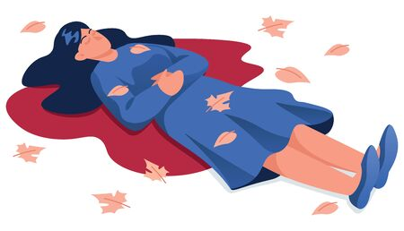 Flat design illustration depicting the body of a dead woman lying in a puddle of her own blood.