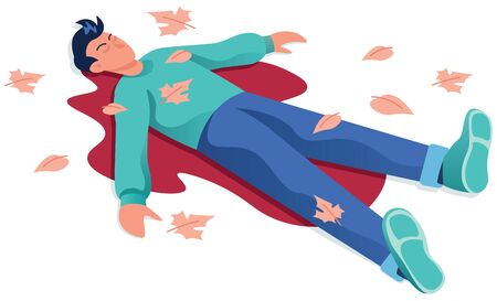 Flat design illustration depicting the body of a dead man lying in a puddle of his own blood.