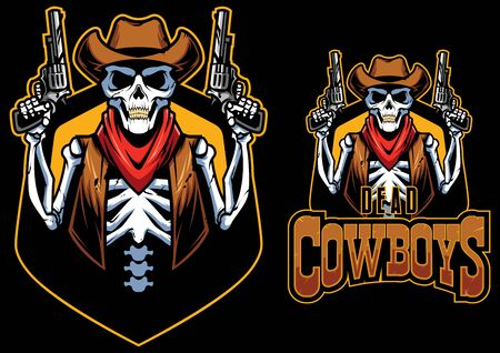 Cartoon mascot  with dead cowboy.