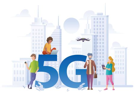 Flat design concept illustration for 5G technology, with people using gadgets with high-speed internet.