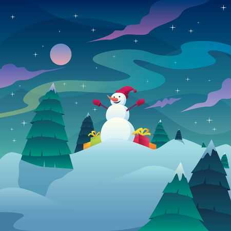 Square Christmas landscape with snowman on a winter night.