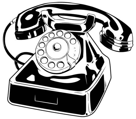 Line art illustration of an old phone isolated on white background.