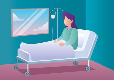 Flat design illustration of woman lying in bed in hospital room.