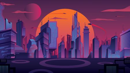 Beautiful cityscape with futuristic city at sunset.