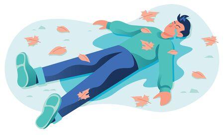Illustration conceptuelle de conception plate pour la tristesse et la dépression, représentant un homme qui pleure allongé dans une flaque de ses propres larmes.
