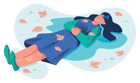 Conceptual flat design illustration for sadness and depression, depicting crying woman lying in a puddle of his own tears.