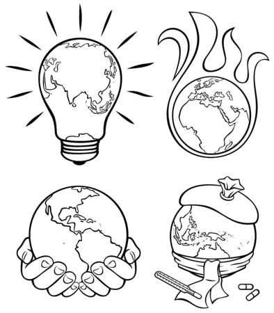 4 conceptual illustrations on environmental subjects in black and white for coloring. Illusztráció