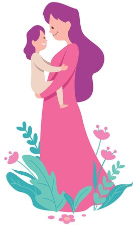 Flat design illustration of mother and her little daughter on white background.