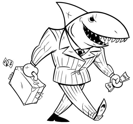 Concept line art, illustration with cartoon business shark holding briefcase. Ilustrace