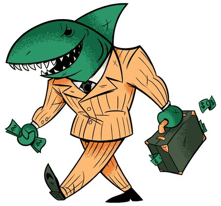 Concept illustration with cartoon business shark holding briefcase. 矢量图像