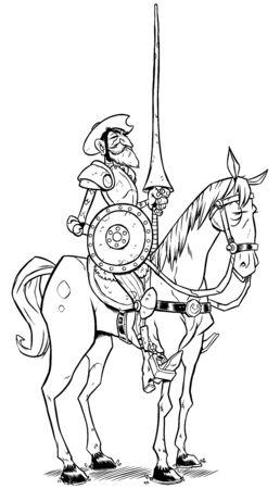 Ilustración de arte lineal de Don Quijote de la Mancha aislado sobre fondo blanco.