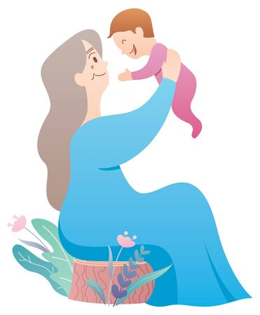 Cartoon illustration of grandmother holding her grandchild. Ilustrace