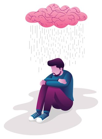 Conceptual flat design illustration for depression, depicting man, sitting on the ground with human brain shaped like rain cloud above him.