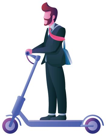 Flat design with businessman on electric scooter over white background.