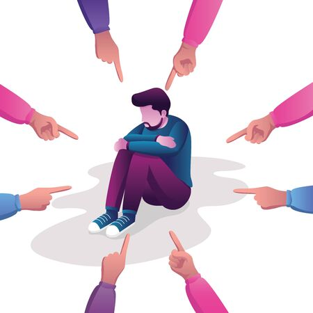 Conceptual flat design illustration for guilt, victim, blaming, public disapproval, humiliation and abjection, depicting sad man surrounded by hands with index fingers pointing at him. Vettoriali