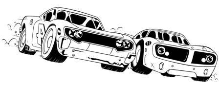 Line art illustration of a close race between 2 sport cars. Illustration