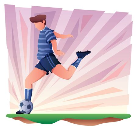 Flat design with football or soccer player kicking the ball over abstract background.