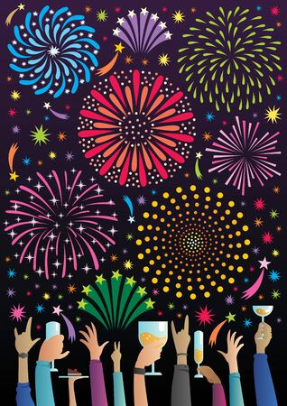 Flat design concept illustration for party and celebration, featuring multiple raised hands, holding glasses and cheering under fireworks. Ilustrace