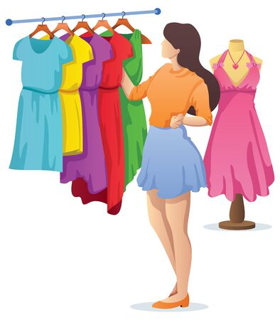 Flat design illustration with young woman choosing a new dress. Ilustrace