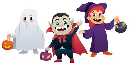 A small group of children masked as ghost, witch and vampire for Halloween. Ilustrace
