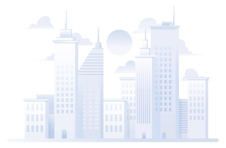 Flat design of a city on white background.