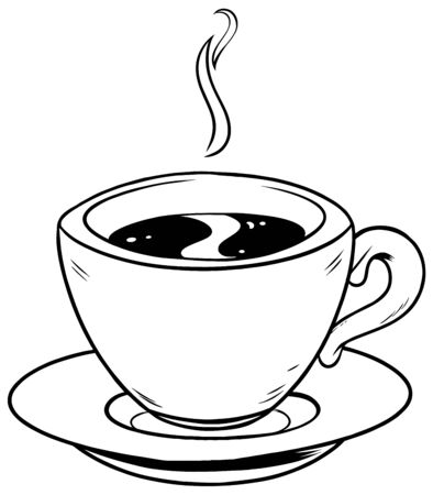 Cartoon line art illustration of a cup coffee.
