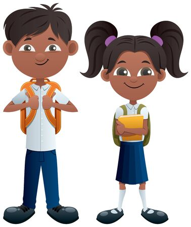 Vector illustration of Indian schoolboy and schoolgirl.