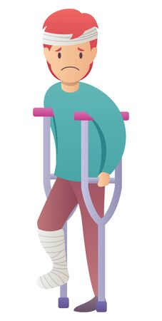 Flat design illustration of injured man with broken leg.