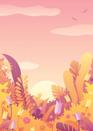 Nature background with floral elements and copy space. Ilustrace