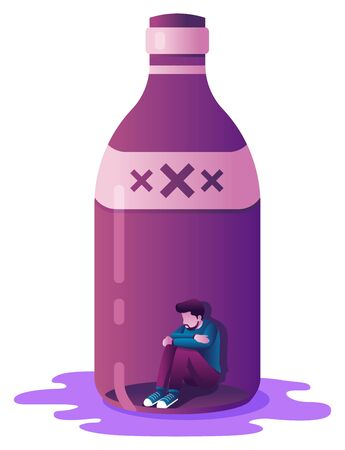 Conceptual flat deisgn illustration with male character locket in a liquor bottle as a metaphor for alcoholism. Ilustrace