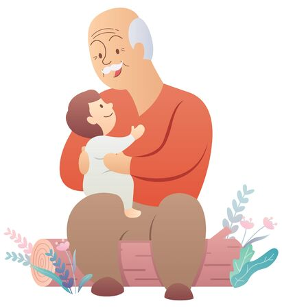 Cartoon illustration of grandfather holding his grandchild.