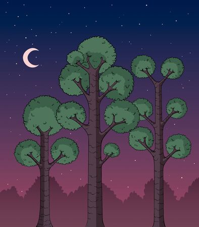 Cartoon illustration of a dark forest at night. Ilustrace
