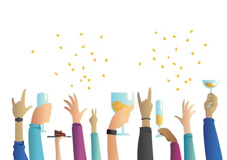 Flat design concept illustration for party and celebration, featuring multiple raised hands, holding glasses and cheering. Ilustrace