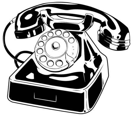 Ilustración de arte lineal de un teléfono antiguo aislado sobre fondo blanco. Ilustración de vector