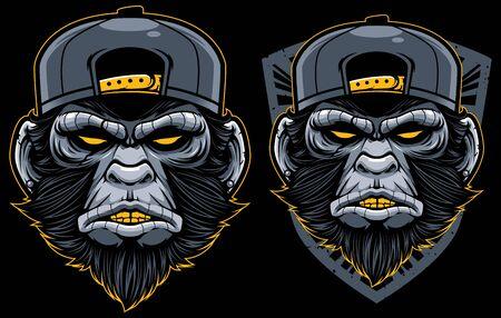 Cool Monkey Mascot. Angry Chimp Head In Baseball Cap Vector Illustration. Dangerous Mammal Badge. Ape Sticker, Patch. Gorilla Face Label, Emblem. Wild Animal Old School Tattoo Design
