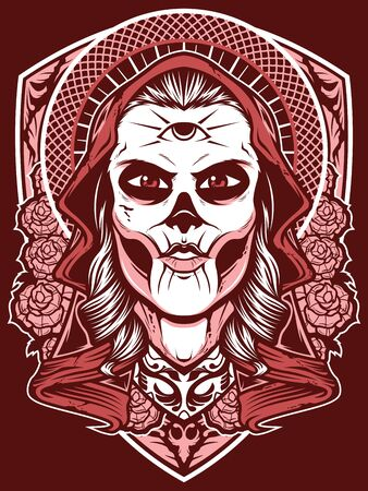 Woman With Third Eye. Spiritual Priestess Character Sticker, Patch. Female Mystic Prophet, Magician Old School Tattoo Design. Witch, Occult Goddess Apparel Print. Fortune Telling Concept
