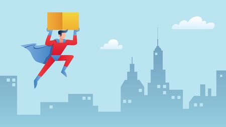 Superhero bringing box. Man in costume carrying parcel cartoon character. Fast delivery, courier services and express shipment concept. Guy in cloak delivering order flat vector illustration.