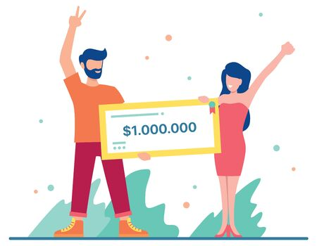 Flat design illustration with male and female character holding a bank check for a million dollars.