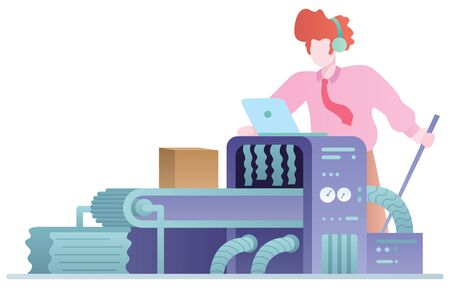 Flat design concept illustration for manufacturing products, with a machine and a cartoon character. Illustration