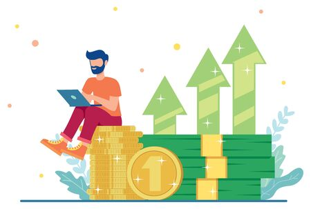 Flat design illustration with male character sitting on a pile of money and working on his online business.