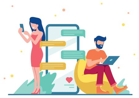 Flat design illustration with male and female character chatting via smartphone and laptop.