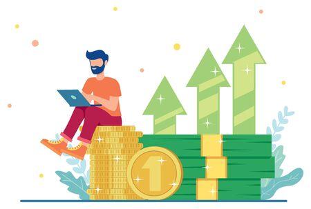 Illustration de conception plate avec un personnage masculin assis sur un tas d'argent et travaillant sur son entreprise en ligne.