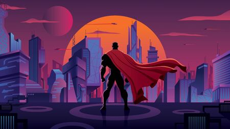 Superhero with big red cape watching over futuristic city at sunset.