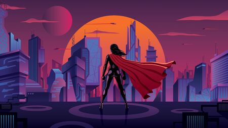 Superheroine with big red cape watching over futuristic city at sunset.