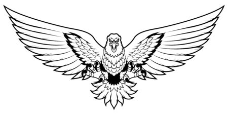 Line art mascot illustration of eagle attacking and isolated on white background. Ilustração