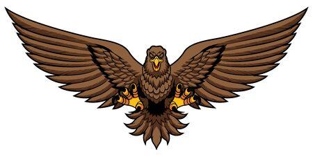 Mascot illustration of golden eagle attacking and isolated on white background. Ilustração