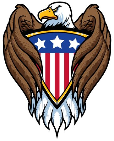 Mascot illustration of bald eagle holding shield with the American Flag on it.