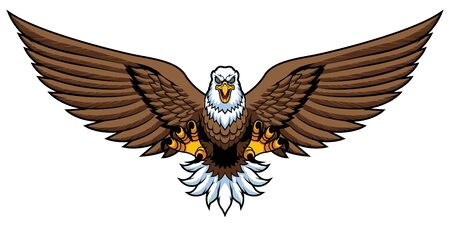 Mascot illustration of bald eagle attacking and isolated on white background.