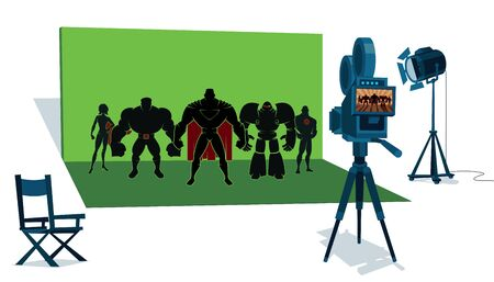 The set of a superhero movie with the leading actors in front of the camera and with green screen behind them.